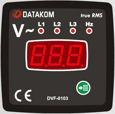 Volt and frequency meter panel DATAKOM DVF-0103, 3 phase, 72x72mm