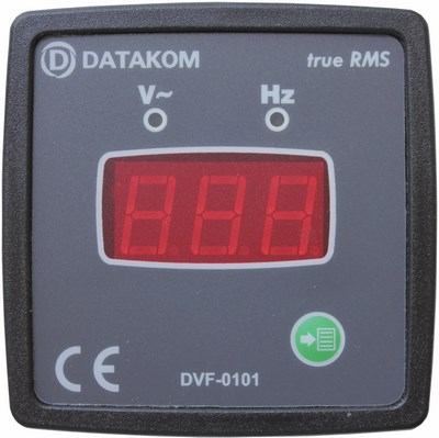 Volt and frequency meter panel, DATAKOM DVF-0101, 1 phase, 72x72mm