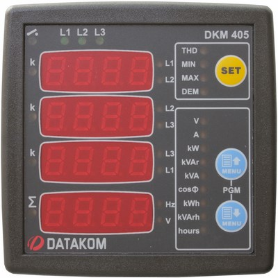 DATAKOM DKM-405 network analyser with I/O, 75-150V power supply version, 96x96mm